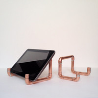 Industrial Design Copper Pipe iPad Stand, iPad Mini Tablet Holder, Steampunk Decor, Modern Office Desk Accessories, Man Cave Gift for Him