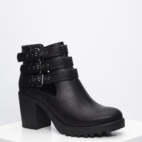 Buckled Faux Leather Booties