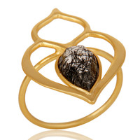 Black Rutile 18K Gold Plated Sterling Silver Art Deco Style Designer Ring