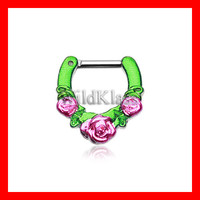 Septum Clicker 16g Rose Garden Icon Green Pink 14g Septum Ring Earring Cartilage Piercing Tragus Ring Helix Conch Nose Belly Nipple