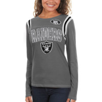 Oakland Raiders Ladies Baby Jersey Crew Long Sleeve T-Shirt - Silver