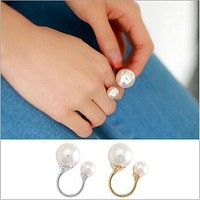 Fashion sweet, personality size pearl, open index finger ring