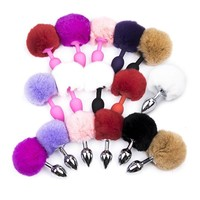 100% New Men & Women Butt Plug Small Size Metal Anal Toys Hairy Rabbit tail Adult Sex Toys, Sex Products Anal Plug Juguetes