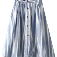Stripe High Waist Button Up Skirt