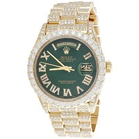 18K Gold 36mm Rolex President Day-Date Diamond Watch w/ Green Dial (18038) - 15.11 CT.