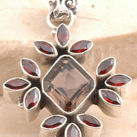 Loving Smoky Quartz/ Garnet Pendant in 925 Sterling Silver