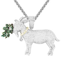 Men's Silver Animal Goat Greatest of All Time Weed Hip Hop Pendant