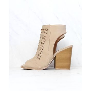 Woven Chunky Heeled VEgan Nubuck Bootie in Light Taupe
