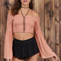 Go Free Bell Sleeve Crop Top