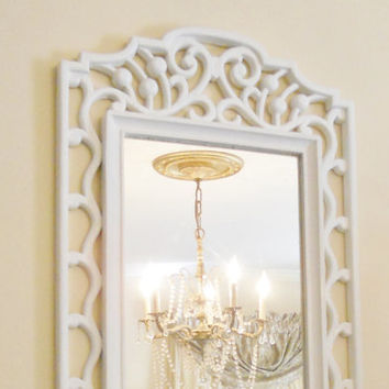 Vintage French Rococo White Mirror, Shabby Chic, Cottage Style, Wedding, Housewarming Gift, Home Decor
