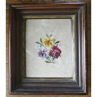 Framed Antique Needlepoint Picture Roses Flowers in Deep Walnut Frame