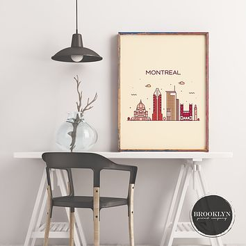 Montreal Skyline Travel Poster