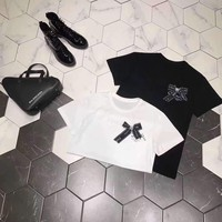 Dior Loose Casual Pattern Blended Cartoon Letter Simple Fashion All-match T-Shirt