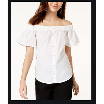 7 Sisters Juniors Off-The-Shoulder Back-Tie Top - White XL