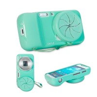 GMYLE(R) Turquoise Blue TPU Protective Soft Case with Camera Lens Cover for Samsung Galaxy S4 Zoom SM-C1010, SM-C101