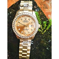Rolex Fashion Ladies Men Chic Diamond Quartz Watches Wrist Watch Golden