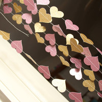 Pink and gold glitter paper heart garland, wedding, party, decoration