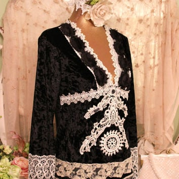 Velvet n Lace Tunic, Boho Gypsy Top, Tattered Rose Shirt, Beaded Top, Black Velvet Top, Romantic White Lace Shirt, Women's Size Large Medium