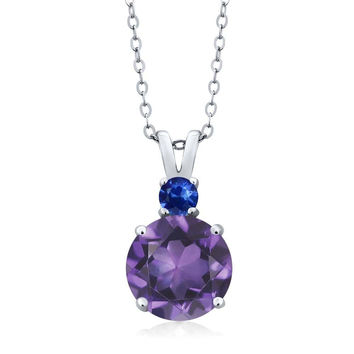 "3.13 Ct Round Amethyst Blue Sapphire 14K White Gold Women's Pendant + 18"" Chain"
