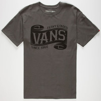 Vans Scrolled Mens T-Shirt Charcoal  In Sizes