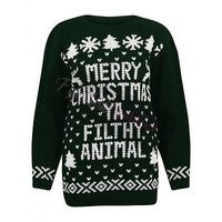 Ladies Womens Merry Christmas Ya Filthy Animal Jumper Knitted Sweater Plus Size