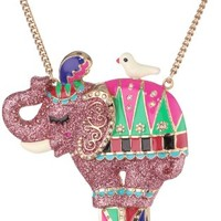 """Betsey Johnson """"A Day at the Zoo"""" Elephant Long Pendant Necklace, 35"""""""