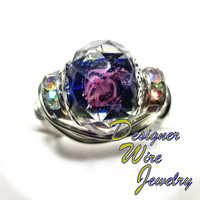 DWJ0248 Faceted Crystal Cobalt & Rose Silver Wire Wrap Ring All Sizes