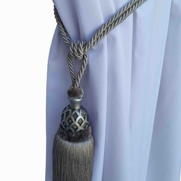 Silver Curtain Drapery Decorative Wood/Tassel Double Rope TieBack Hand Crafted Home Decor/Window Treatments Drape Holding/Holdback/Pull Back