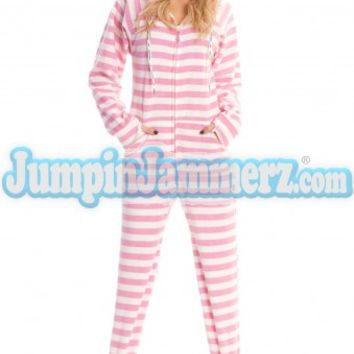 Pink Cotton Stripes Hooded Adult Pajamas - Hooded Footed Pajamas - Pajamas Footie PJs Onesuits One Piece Adult Pajamas - JumpinJammerz.com