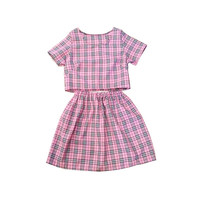Pink Cher Tartan Plaid  Co-ord Two Piece