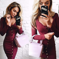 2017 Spring Vintage Square Collar Bodycon Mini Dress Sexy Office Button Bandage Prom Dresses Vestidos Femininos LX249