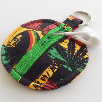 Earbud Holder / Coin Pouch / Pot Leaf Coin Purse / Rasta / Weed Accessories / Earbud Case / Ear Bud Holder / Small Pouch / Marijuana