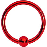 """16 Gauge Red Titanium Captive Ring 3/8"""" 3mm 