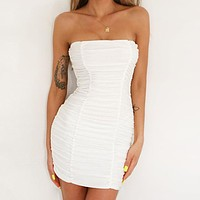 New Sexy Breast-wiping Night Club Folded Buttock Dress for Women White