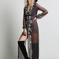 Free People Womens Sheer Embroidered Maxi - Coal Combo