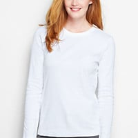 Women's Long Sleeve Shaped Crewneck T-shirt from Lands' End