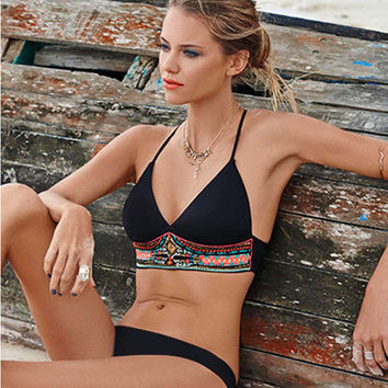 Fashion Summer Women Floral Printed Sexy Floral Printed Backless Two-Piece Erotic Bikini Swim Suit Beach Bathing Suits Swimwear _ 13379