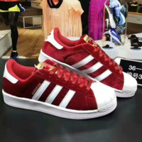 """ADIDAS"" Trending Fashion Casual Sports Shoes Red white line"