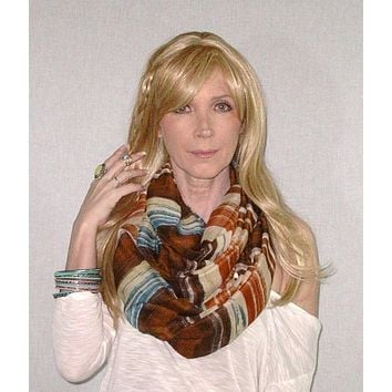 Infinity Scarf Boho Painted Desert Brown Lightweight Summer Spring Fall Scarves Mexican Serape Brown Clay Orange Blue Double Loop Eternity