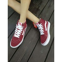 Vans old skool DT SK8-Hi Red High Top Men Flats Shoes Canvas Sneakers Women Sport Shoes