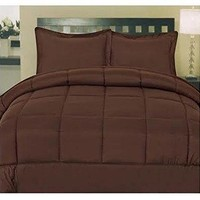 ComfortLiving Down Alternative 5 Piece Embossed Comforter Set - Brown (Queen)