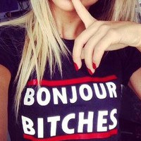 Women Double Red Lines Letters Printed Casual  Short Sleeve T-shirt