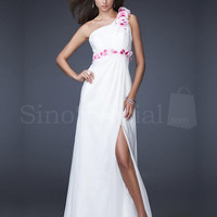White A-line One-shoulder Floor Length Chiffon Evening Dress  from SinoSpecial