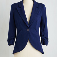 Scholastic Mid-length 3 Fine and Sandy Blazer in Navy