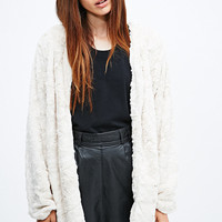 Minkpink Powder Room Teddy Coat in Ivory - Urban Outfitters