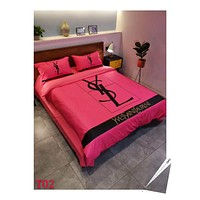 Red YSL Stylish Fashion Modal 4 Pieces Sheet Set Blanket For Home Decor Bedroom Living Rooms Sofa