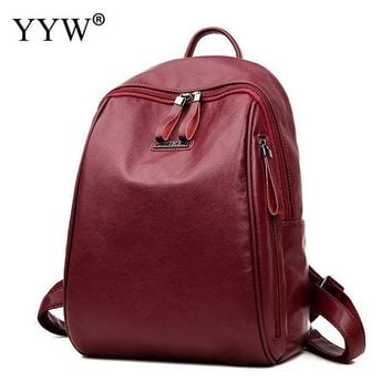Student Backpack Children Women Pu Leather Backpacks Top Selling Soft Surface Student Rivet Mochila De Couro Mini Backpacks For Girls AT_49_3