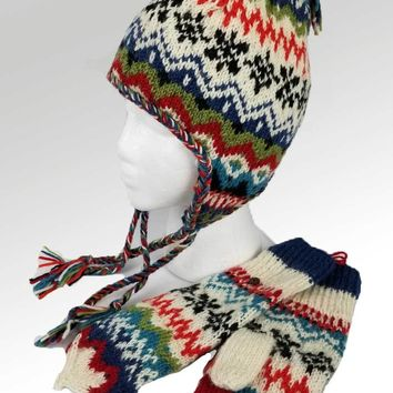 Nordic Wool Hat and Mittens Set - Natural
