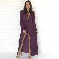 Silk In The Night Dark Plum Maxi Romper