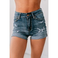 If We Never Met Rolled Cuff Distressed Shorts (Medium)
